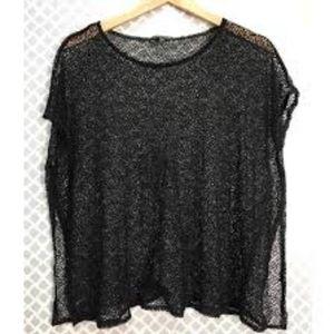 Eileen Fisher crochet knit topper black